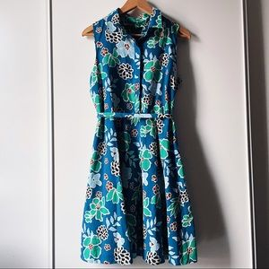 Banana Republic floral sleeveless shirt dress 10P